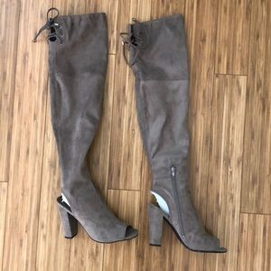 GUESS over the knee open toe boot heel